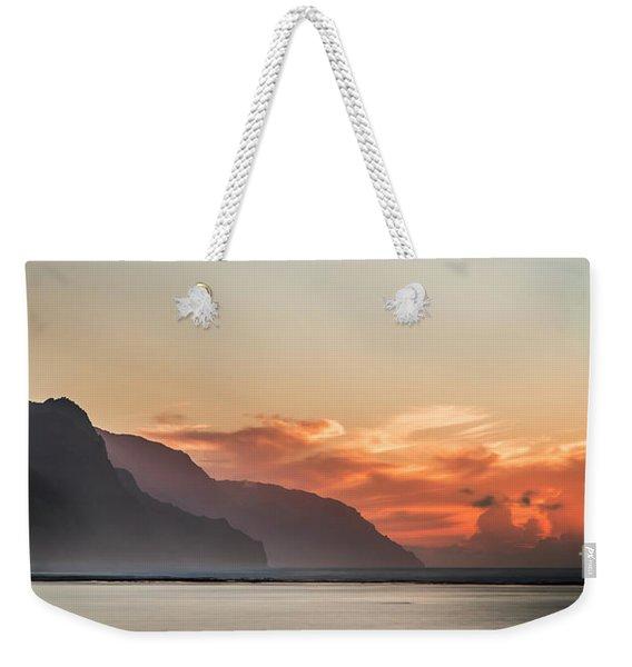 Napali Coast Kauai Hawaii Panoramic Sunset Weekender Tote Bag
