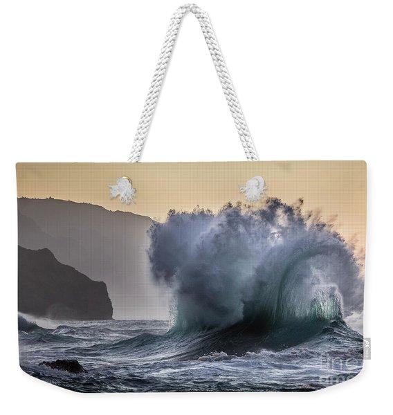 Napali Coast Kauai Wave Explosion Weekender Tote Bag