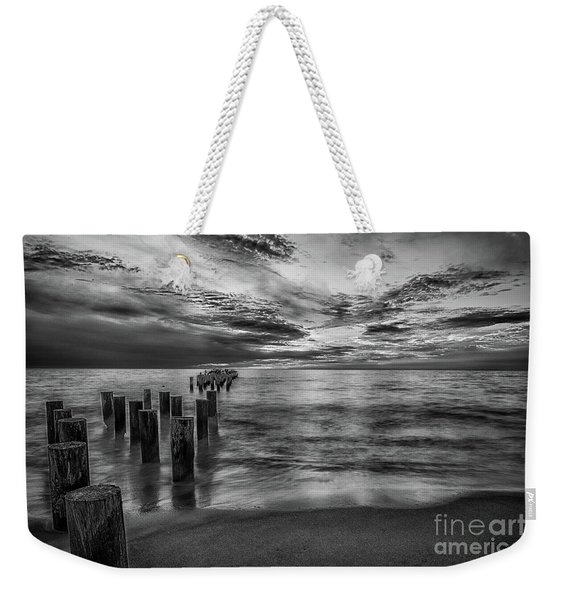 Naples Sunset In Black And White Weekender Tote Bag