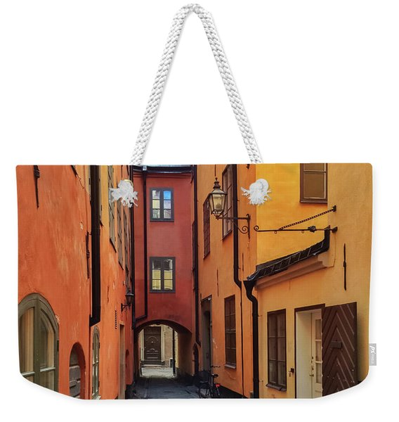 Narrow Street In The Old Center Of Stockholm Weekender Tote Bag
