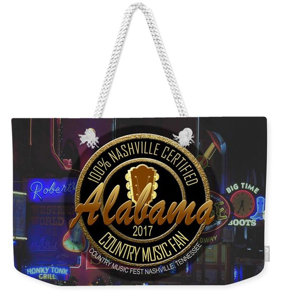 Nashville Certified Alabama Country Music Fan Weekender Tote Bag