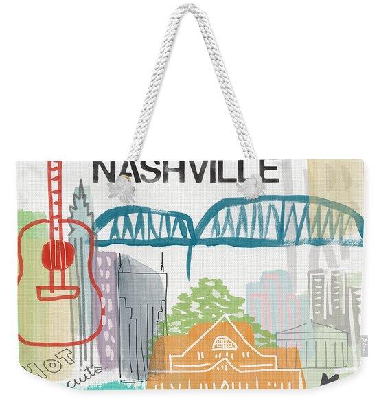 Nashville Cityscape- Art By Linda Woods Weekender Tote Bag