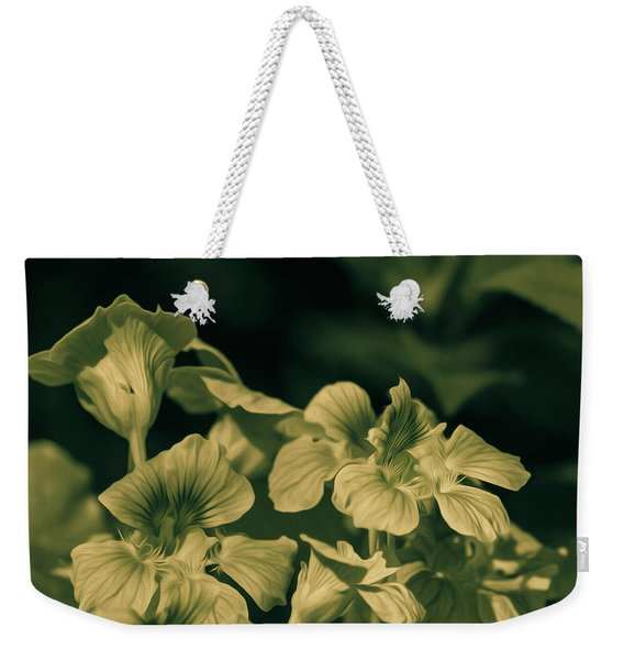 Nasturtium Black And White Weekender Tote Bag