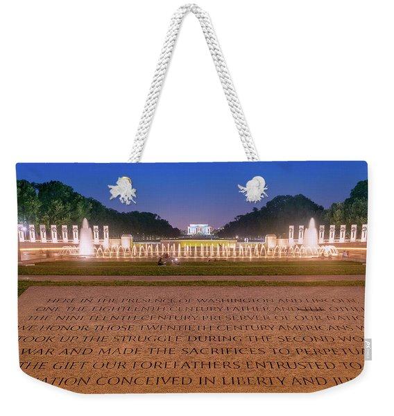 National World War 2 And Lincoln Memorial Weekender Tote Bag