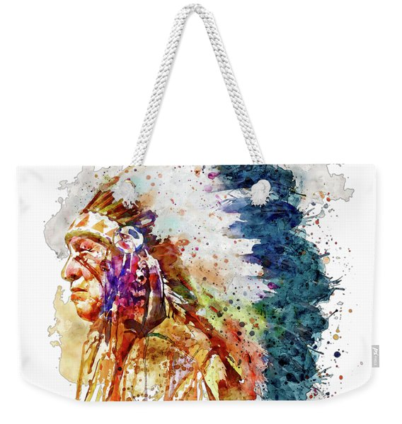 Native American Chief Side Face Weekender Tote Bag