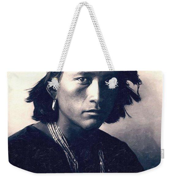 Native American Indian Portrait Profile Series - Navajo Boy Weekender Tote Bag