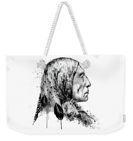 Native American Side Face Black And White Weekender Tote Bag