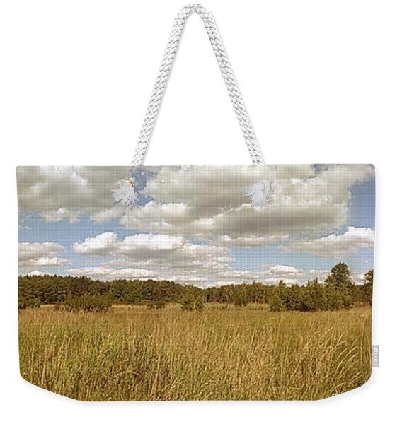 Natural Meadow Landscape Panorama. Weekender Tote Bag
