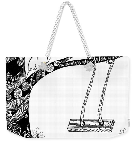 Weekender Tote Bag featuring the drawing Nature Is Calling Come Out And Play by Barbara McConoughey
