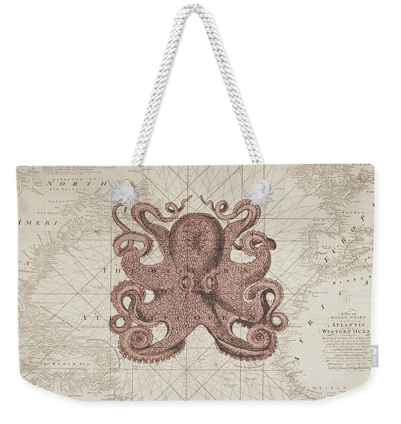 Nautical Octopus Sea Chart Weekender Tote Bag