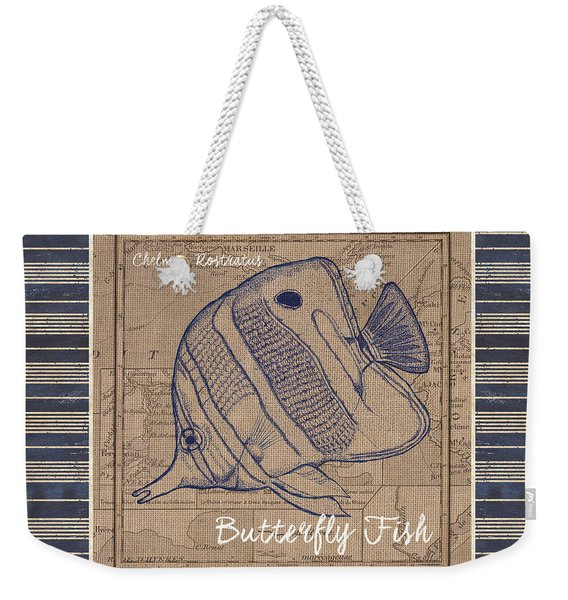 Nautical Stripes Butterfly Fish Weekender Tote Bag