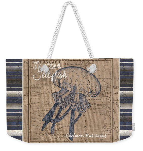 Nautical Stripes Jellyfish Weekender Tote Bag