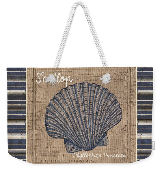 Nautical Stripes Scallop Weekender Tote Bag