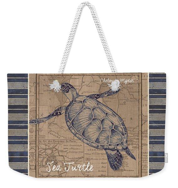 Nautical Stripes Sea Turtle Weekender Tote Bag