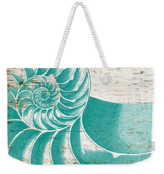 Nautilus Shell Distressed Wood Weekender Tote Bag