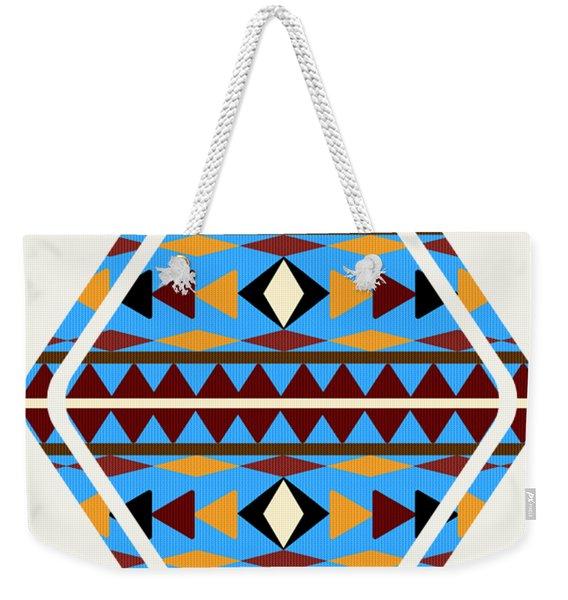 Navajo Blue Pattern Art Weekender Tote Bag