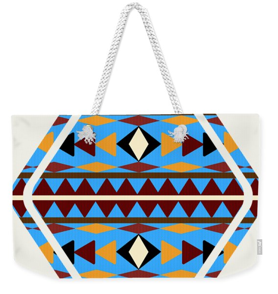 Navajo Blue Pattern Art Weekender Tote Bag