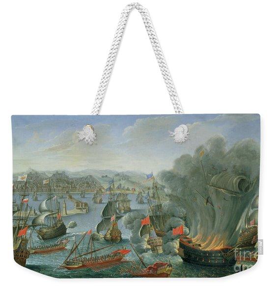 Naval Battle With The Spanish Fleet Weekender Tote Bag