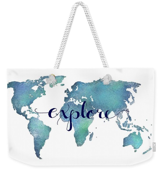 Navy And Teal Explore World Map Weekender Tote Bag