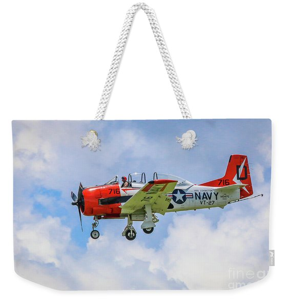Weekender Tote Bag featuring the photograph Navy Trainer #2 by Tom Claud