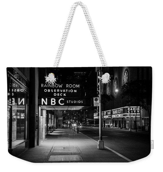 Nbc Studios Rockefeller Center Nyc Black And White  Weekender Tote Bag