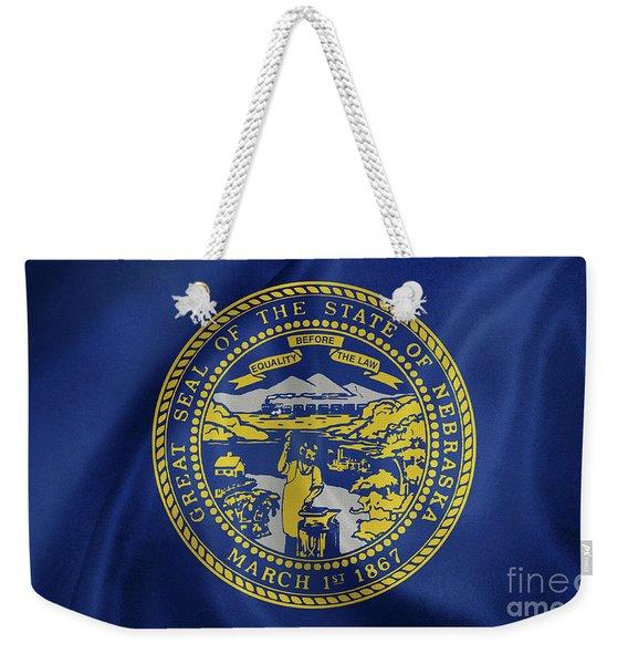 Nebraska Flag Weekender Tote Bag