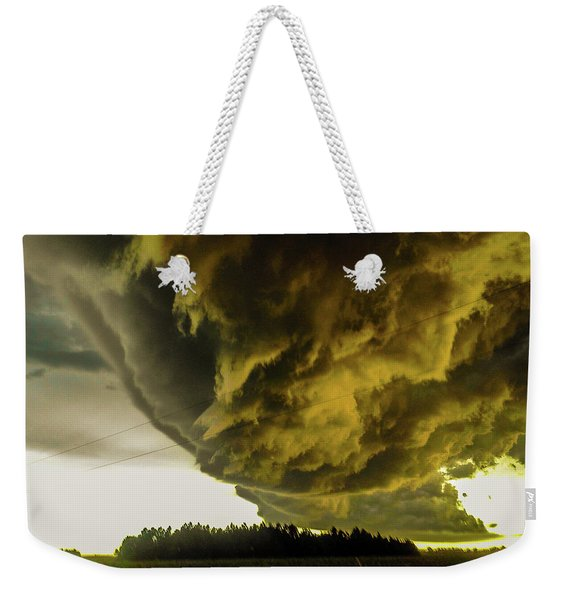 Weekender Tote Bag featuring the photograph Nebraska Supercell, Arcus, Shelf Cloud, Remastered 018 by NebraskaSC