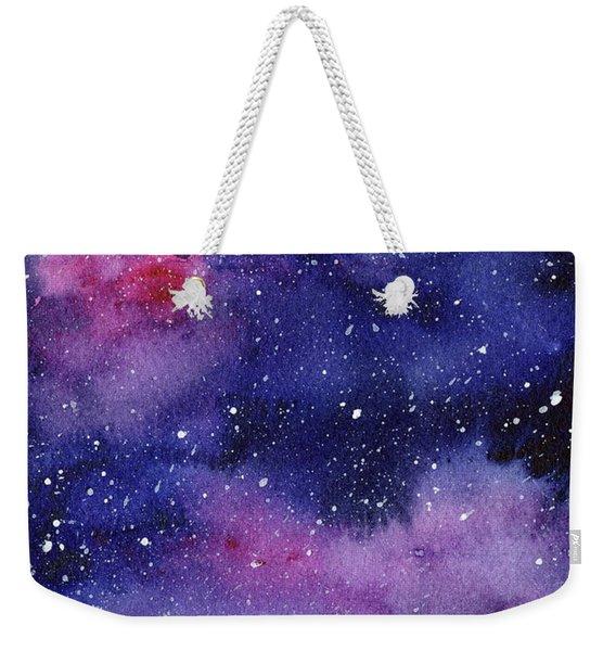 Nebula Watercolor Galaxy Weekender Tote Bag