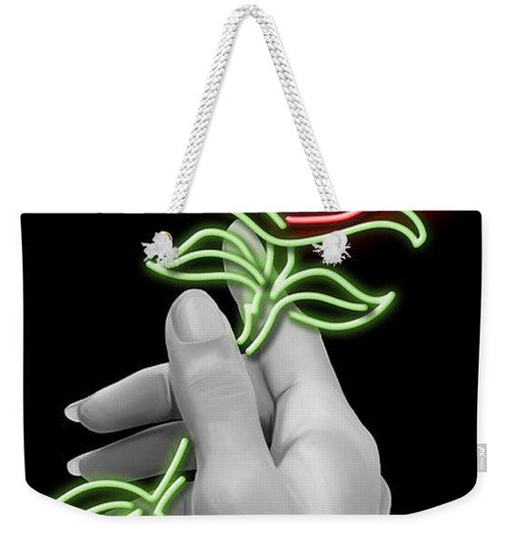 Neon Rose Weekender Tote Bag