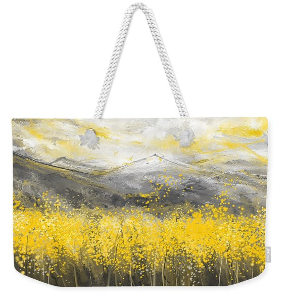 Neutral Sun - Yellow And Gray Art Weekender Tote Bag