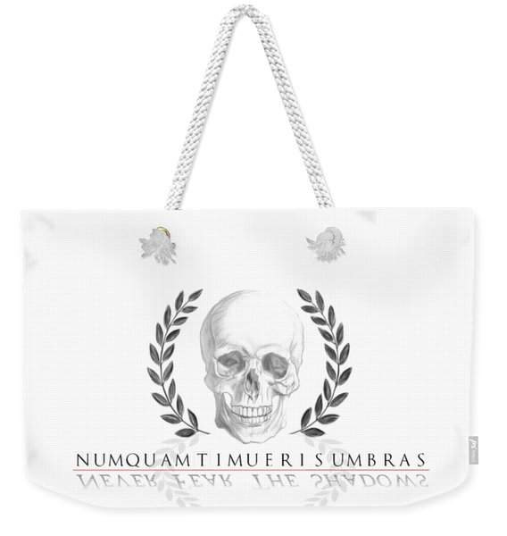 Never Fear The Shadows Stoic Skull With Laurels Weekender Tote Bag