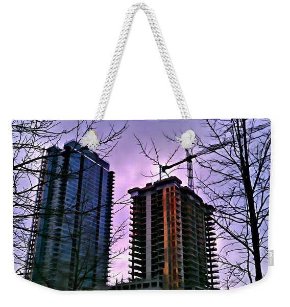New Construction, Two Towers Weekender Tote Bag