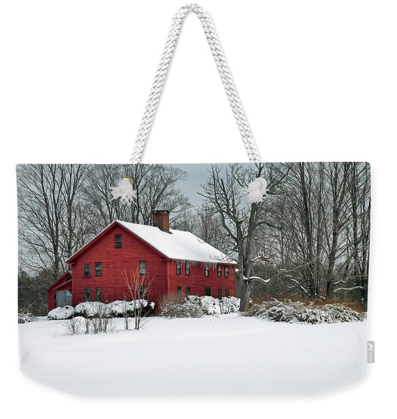 New England Colonial Home In Winter Weekender Tote Bag