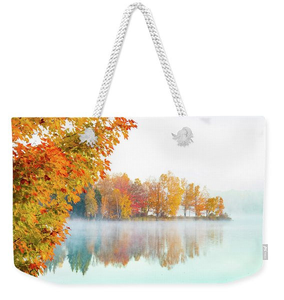 Weekender Tote Bag featuring the photograph New England Fall Colors Of Maine by Jeff Folger