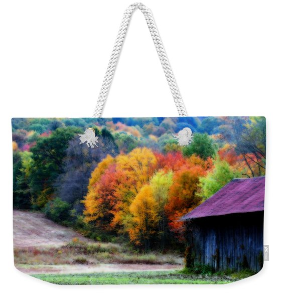 New England Tobacco Barn In Autumn Weekender Tote Bag