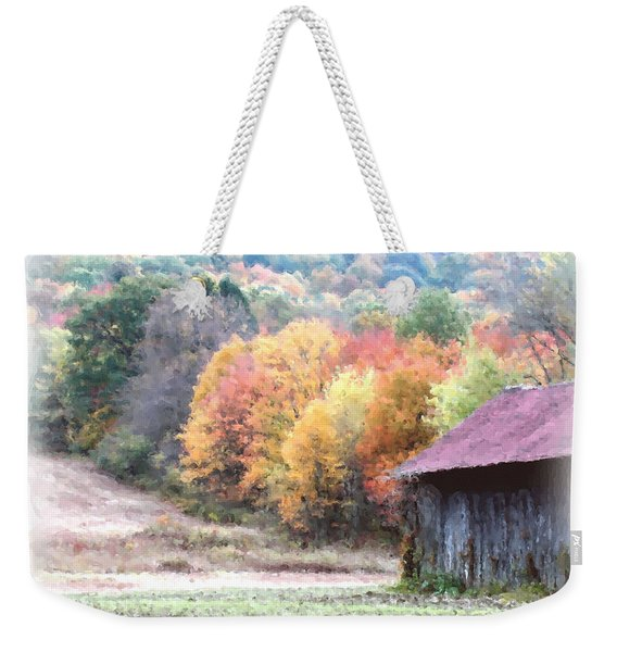 New England Tobacco Barn In Watercolor Weekender Tote Bag