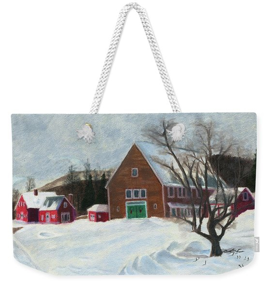 New Hampshire Farm In Winter Weekender Tote Bag
