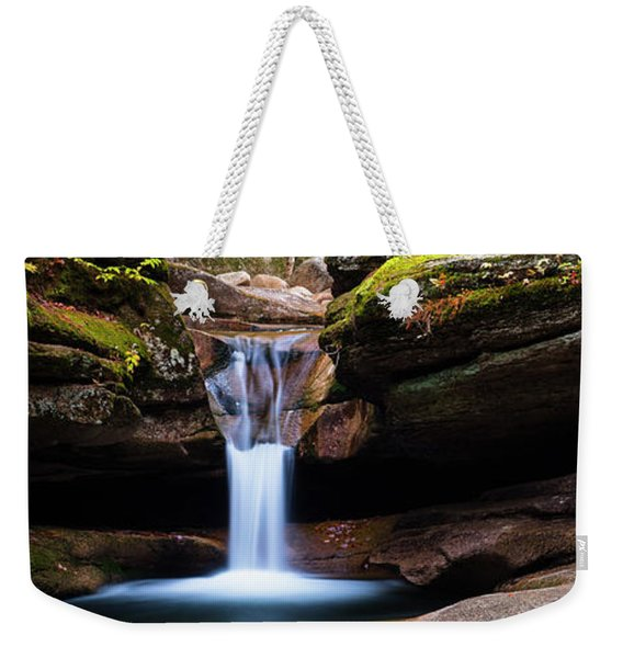 Weekender Tote Bag featuring the photograph New Hampshire Sabbaday Falls And Fall Foliage Panorama by Ranjay Mitra