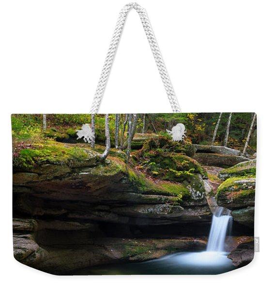 Weekender Tote Bag featuring the photograph New Hampshire Sabbaday Falls Panorama by Ranjay Mitra