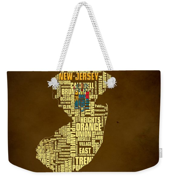 New Jersey Typographic Map 01 Weekender Tote Bag