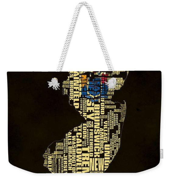 New Jersey Typographic Map 02 Weekender Tote Bag