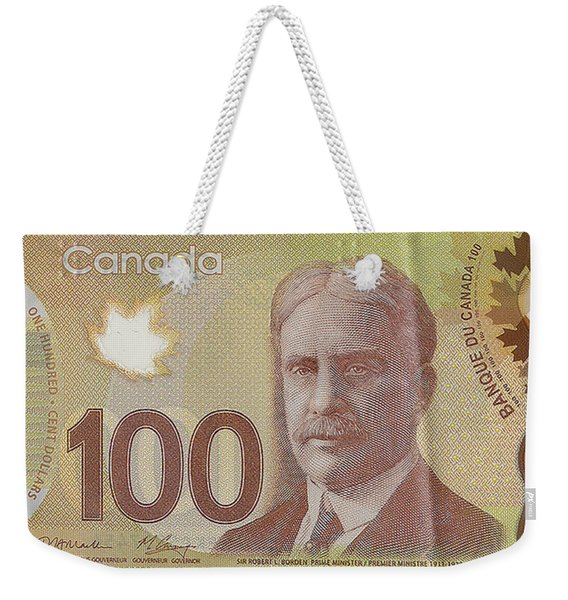 New One Hundred Canadian Dollar Bill Weekender Tote Bag