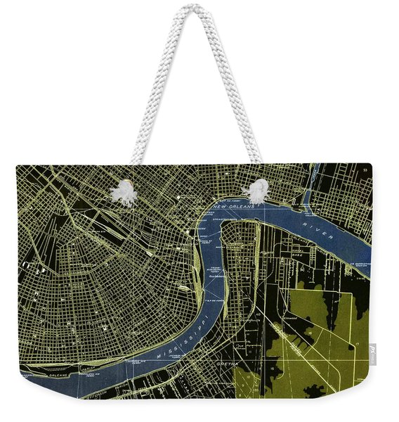 New Orleans Louisiana Vintage Map, Green And Blue Weekender Tote Bag