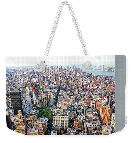 Weekender Tote Bag featuring the photograph New York Aerial View by Benny Marty