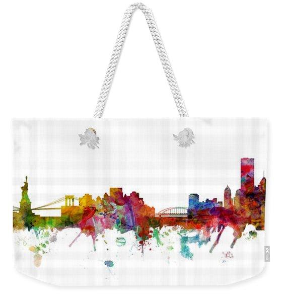 New York And Pittsburgh Skyline Mashup Weekender Tote Bag