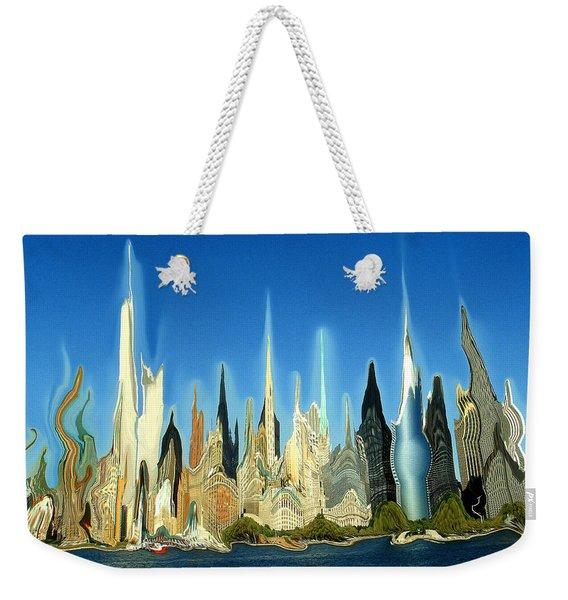 New York City Skyline 2100 - Modern Artwork Weekender Tote Bag