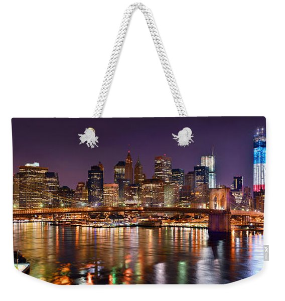 New York City Brooklyn Bridge And Lower Manhattan At Night Nyc Weekender Tote Bag