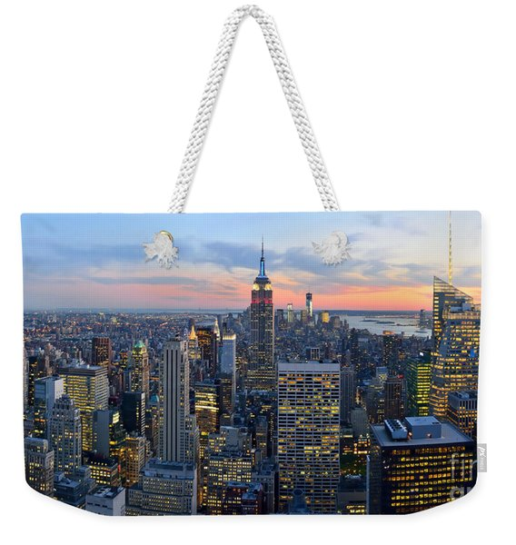 New York City Manhattan Empire State Building At Dusk Nyc Panorama Weekender Tote Bag