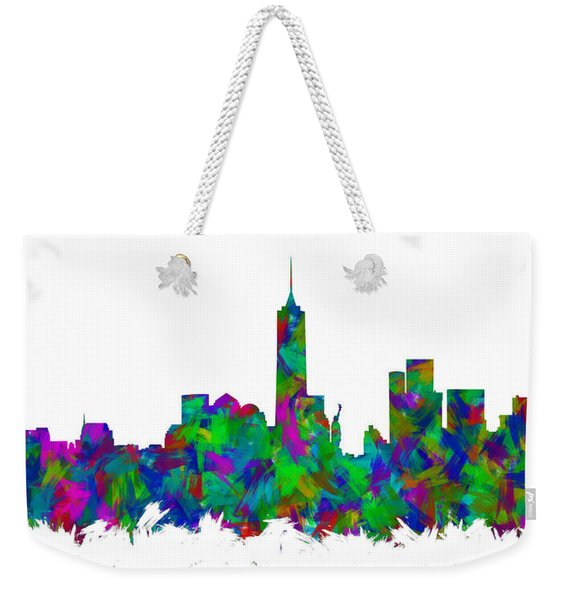 New York City Skyline Abstract Silhouette I Weekender Tote Bag