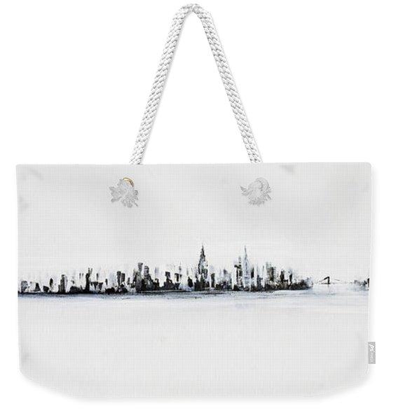 New York City Skyline Black And White Weekender Tote Bag
